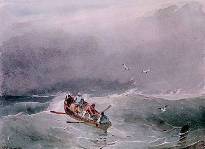Flying Seagull Painting - Seascape  by Richard Parkes Bonington