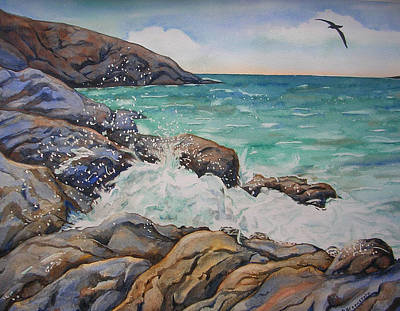 Albatross Painting - Seascape With Albatross by Donna Greenstein