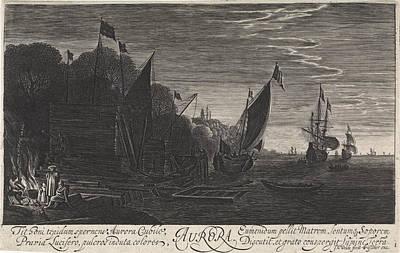 Morning Light Drawing - Seascape With Ships Dawn, Jan Van De Velde II by Jan Van De Velde (ii) And Claes Jansz. Visscher (ii)