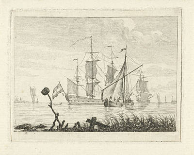 Vegetation Drawing - Seascape With Various Vessels, Gerrit Groenewegen by Gerrit Groenewegen
