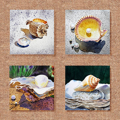 Seashell Collection I Art Print by Irina Sztukowski