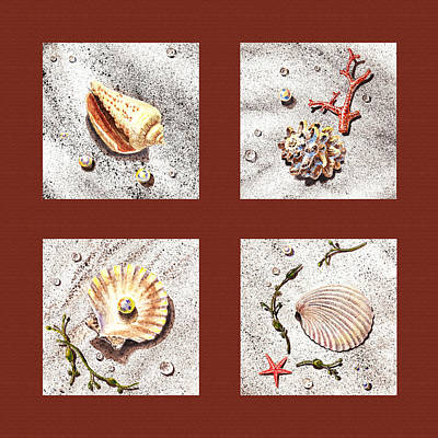 Seashell Collection Iv Art Print by Irina Sztukowski