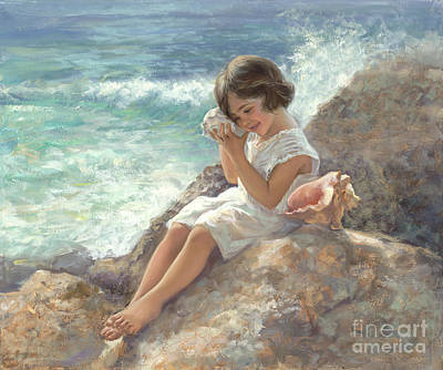 Little Girl On Beach Painting - Seashell Magic by Laurie Hein