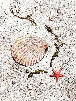 Painting - Seashell Sea Star And Pearls On The Beach by Irina Sztukowski