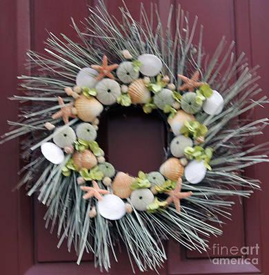 Seashell Wreath Art Print by Judy Latimer