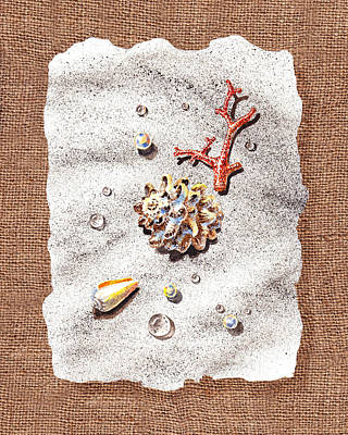 Seashells Coral Pearls And Water  Drops Art Print by Irina Sztukowski