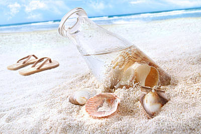 Seashells In A Bottle On The Beach Art Print by Sandra Cunningham
