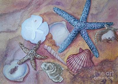 Painting - Seashells In The Sand by Kathy Staicer