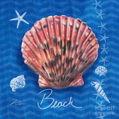 Ocean Shore Mixed Media - Seashells On Blue-beach by Shari Warren