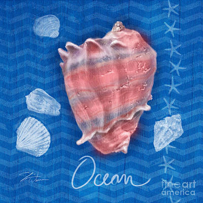 Mixed Media - Seashells On Blue-ocean by Shari Warren