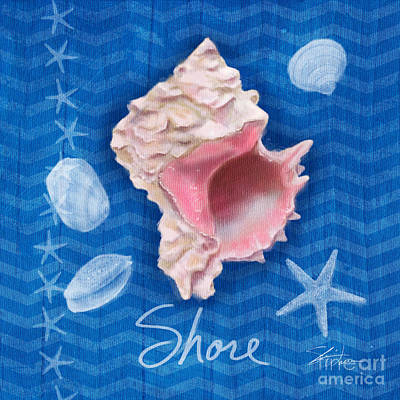 Painting - Seashells On Blue-shore by Shari Warren