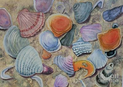 Painting - Seashells On The Beach by Kathy Staicer