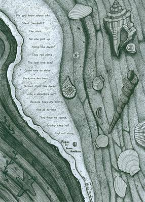 Drawing - Seashells Poem by Richie Montgomery