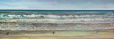 Seagull Painting - Seashore Ocean Panorama by Jennifer Lycke