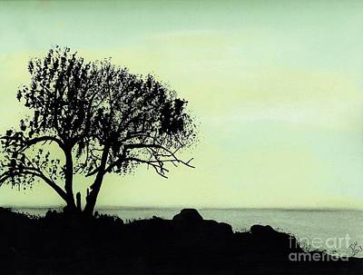 Art Print featuring the drawing Seashore Silhouette by D Hackett