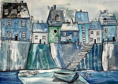 Seaside Blues Art Print by Trudy Kepke