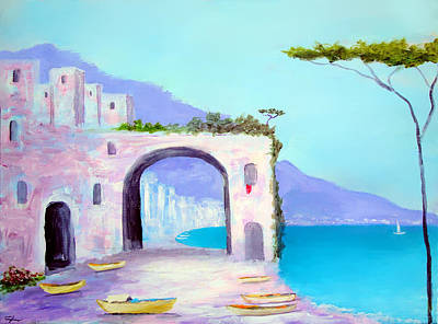 Boats Painting - Seaside Colors Of Southern Italy by Larry Cirigliano