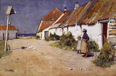 Dove Drawing - Seaside Cottages With Dovecot by Edward Arthur Walton