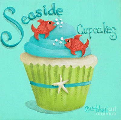 Seaside Cupcakes Art Print by Catherine Holman