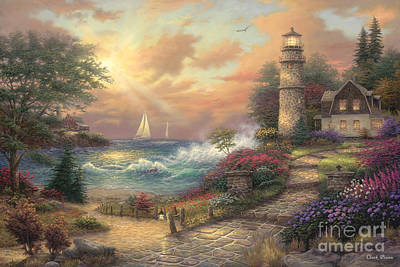 Lighthouse Wall Art - Painting - Seaside Dream by Chuck Pinson