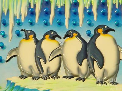 Seaside Funtown Penguins Art Print
