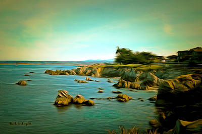 Pacific Grove Painting - Seaside In The Distance Digital by Barbara Snyder