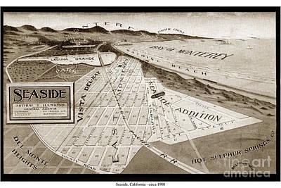 Photograph - Seaside Map And Monterey Bay California  Circa 1908 by California Views Mr Pat Hathaway Archives
