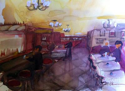 Restaurant Painting - Seaside Pub by Sandra Stone