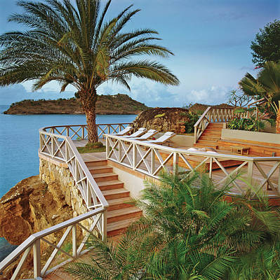 Photograph - Seaside Resort With Stairs And Palm Tree by Durston Saylor