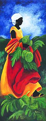 Shawl Painting - Season Breadfruit by Patricia Brintle