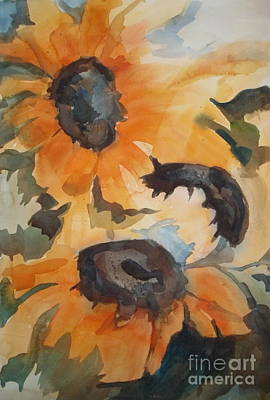 Painting - Season End Sunflowers by Pat Crowther