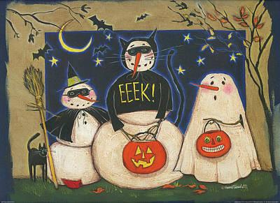 Bat Painting - Seasonal Snowman X by Anne Tavoletti