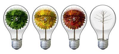 Seasoned Light Bulbs Art Print