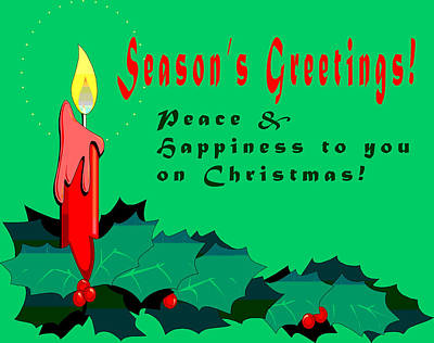 Christmas Cards Digital Art - Seasons Greeting by Barbara Snyder