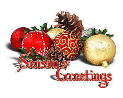 Pine Cones Digital Art - Seasons Greetings - Ornaments  by Gravityx9  Designs