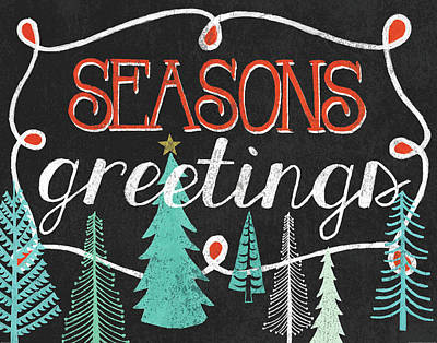 Seasons Greetings Black Art Print by Mary Urban