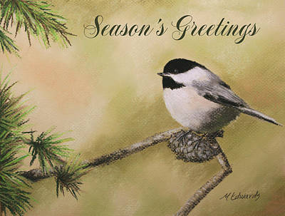 Season's Greetings Chickadee Art Print