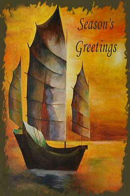 Fishing Enthusiast Painting - Season's Greetings by Tracey Harrington-Simpson