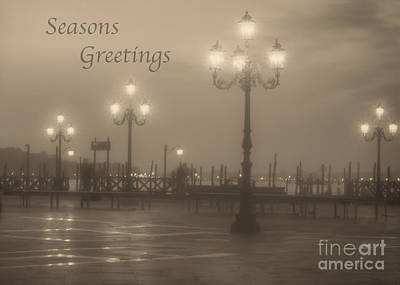 Photograph - Seasons Greetings With Venice Lights by Prints of Italy