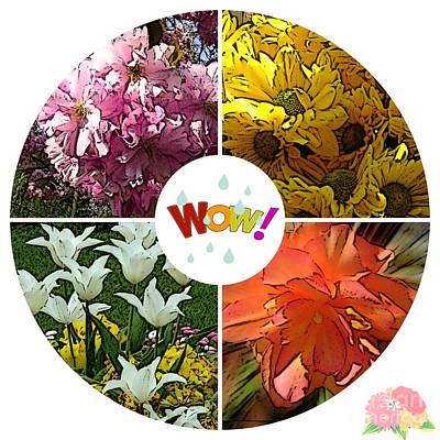 Mixed Media - Seasons Of Flowers by Joan-Violet Stretch