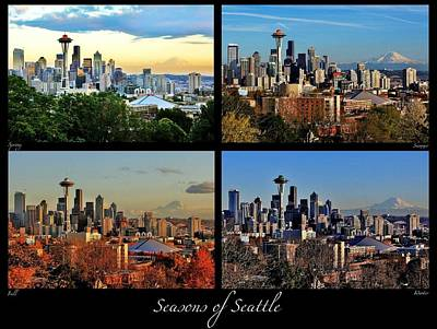 Photograph - Seasons Of Seattle Black With Title And Labels by Benjamin Yeager