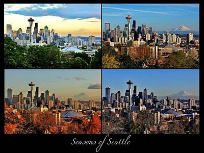 Photograph - Seasons Of Seattle Black With Title by Benjamin Yeager
