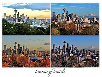Photograph - Seasons Of Seattle White With Title by Benjamin Yeager