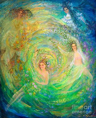 Four Seasons Tree Nature Summer Painting - Seasons by Vladimir Nazarov