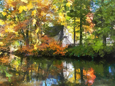 Seasons - White House By Lake In Autumn Art Print by Susan Savad