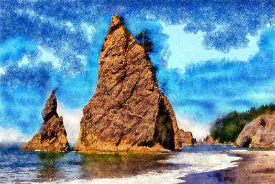 Digital Art - Seastacks At Rialto  by Kaylee Mason