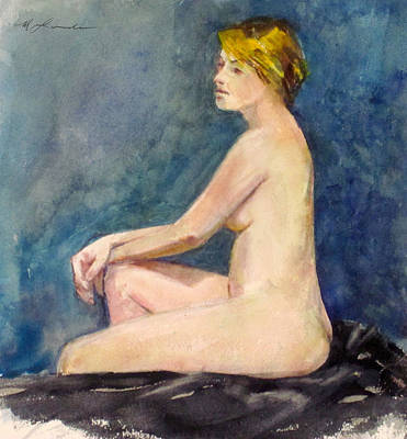 Painting - Seated Blond Nude by Mark Lunde