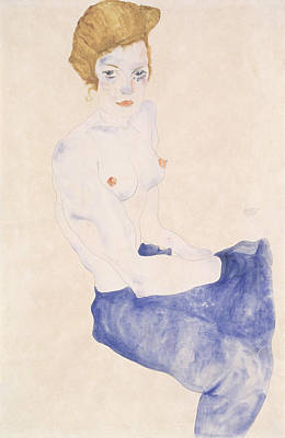 Red Hair Drawing - Seated Blue Nude, 1911 by Egon Schiele