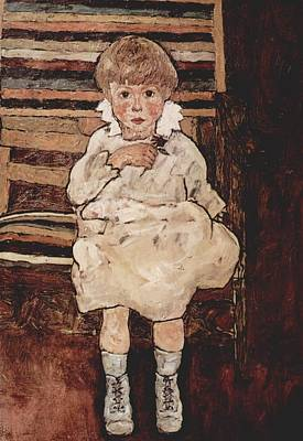 Distortion Painting - Seated Child by Egon Schiele