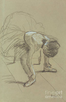 Leaning Drawing - Seated Dancer Adjusting Her Shoes by Edgar Degas